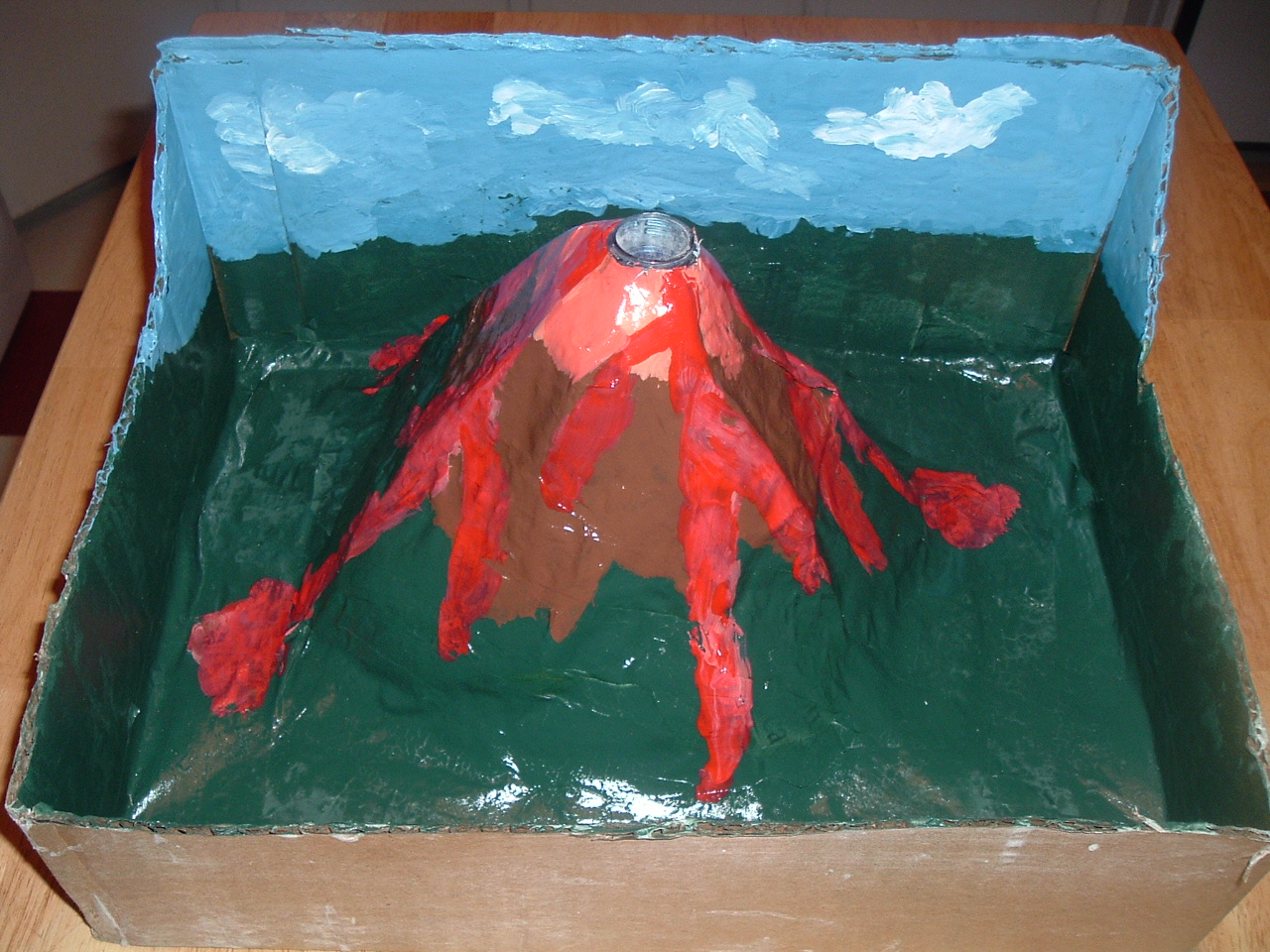 easy volcano project Facts about volcanoes for kids in simple terms a volcano is a mountain that opens downward to a pool of molten rock (magma) below the surface of the earth.
